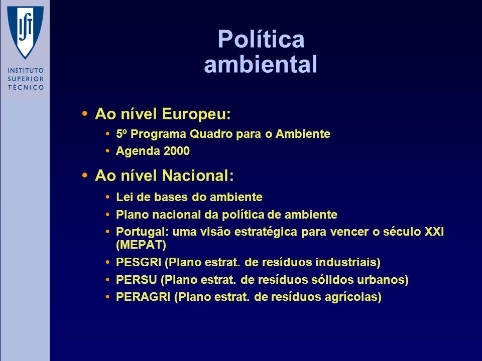 Política ambiental Ao nível Europeu: Ao nível Nacional:
