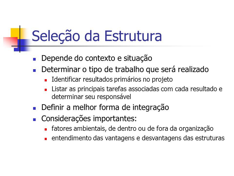 Seleção da Estrutura Depende do contexto e situação