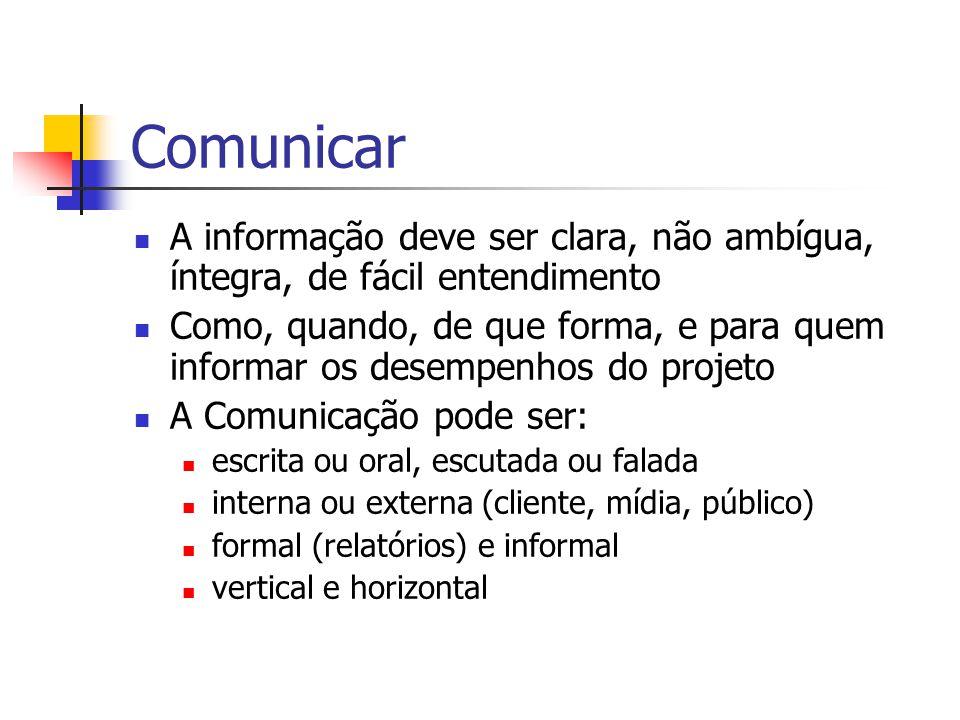 Comunicar A informação deve ser clara, não ambígua, íntegra, de fácil entendimento.