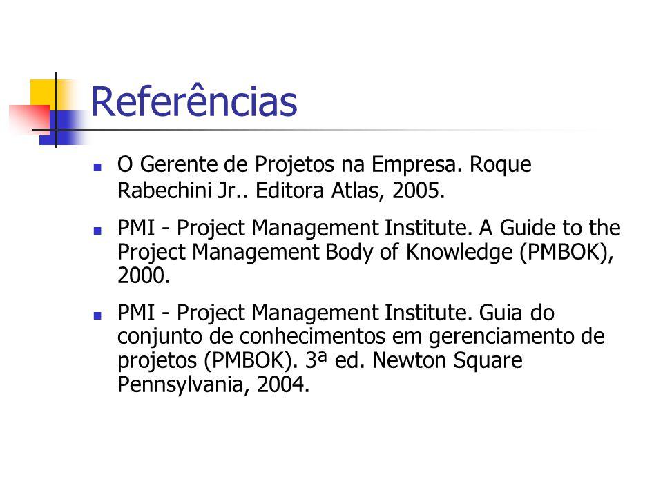 Referências O Gerente de Projetos na Empresa. Roque Rabechini Jr.. Editora Atlas, 2005.