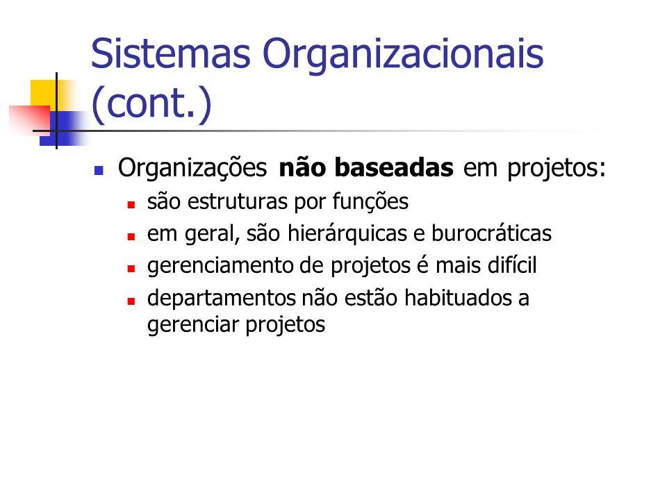 Sistemas Organizacionais (cont.)