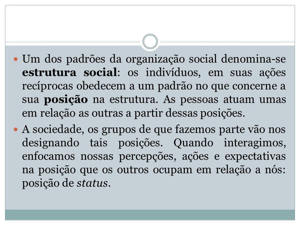 Um dos padrões da organização social denomina-se estrutura social: os indivíduos, em suas ações recíprocas obedecem a um padrão no que concerne a sua posição na estrutura. As pessoas atuam umas em relação as outras a partir dessas posições.