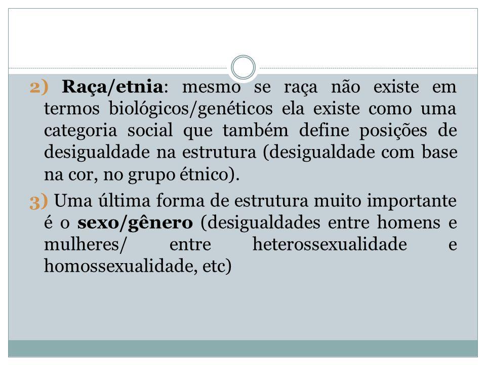 2) Raça/etnia: mesmo se raça não existe em termos biológicos/genéticos ela existe como uma categoria social que também define posições de desigualdade na estrutura (desigualdade com base na cor, no grupo étnico).