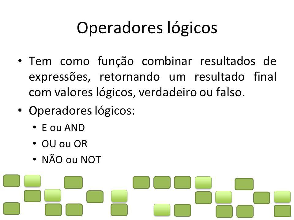 Operadores lógicos Tem como função combinar resultados de expressões, retornando um resultado final com valores lógicos, verdadeiro ou falso.