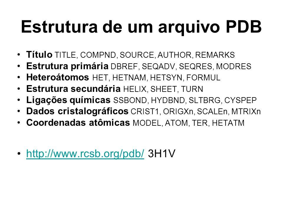 Estrutura de um arquivo PDB