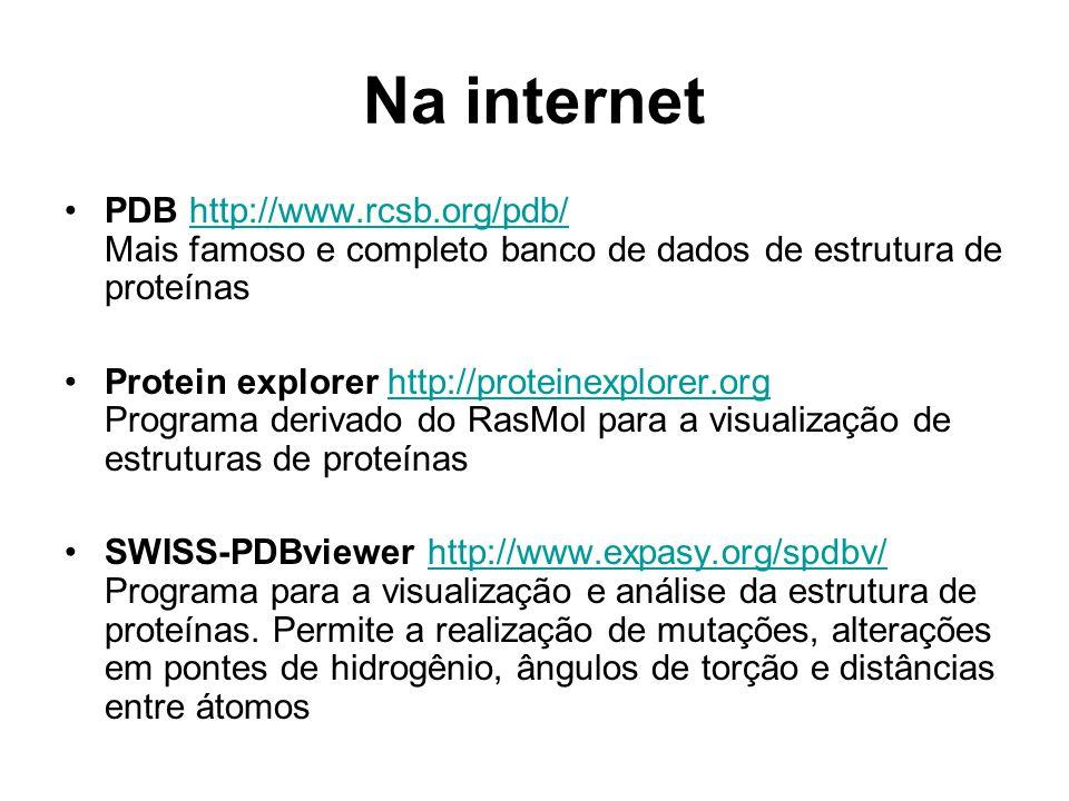 Na internet PDB http://www.rcsb.org/pdb/ Mais famoso e completo banco de dados de estrutura de proteínas.