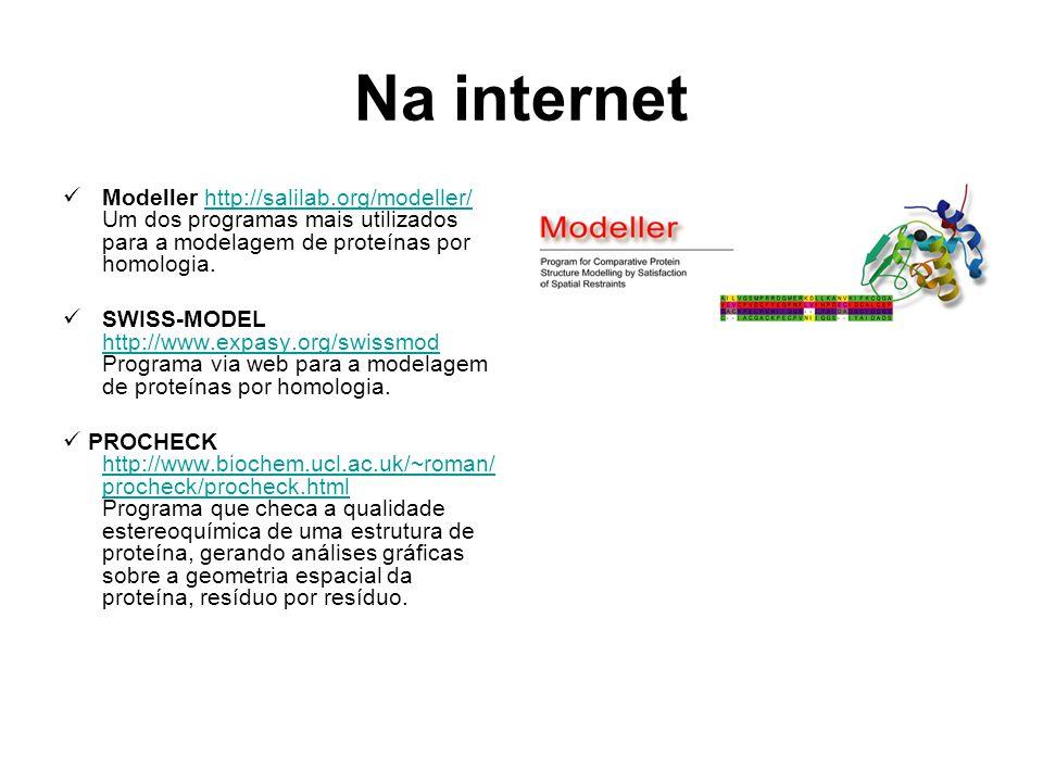 Na internet Modeller http://salilab.org/modeller/ Um dos programas mais utilizados para a modelagem de proteínas por homologia.