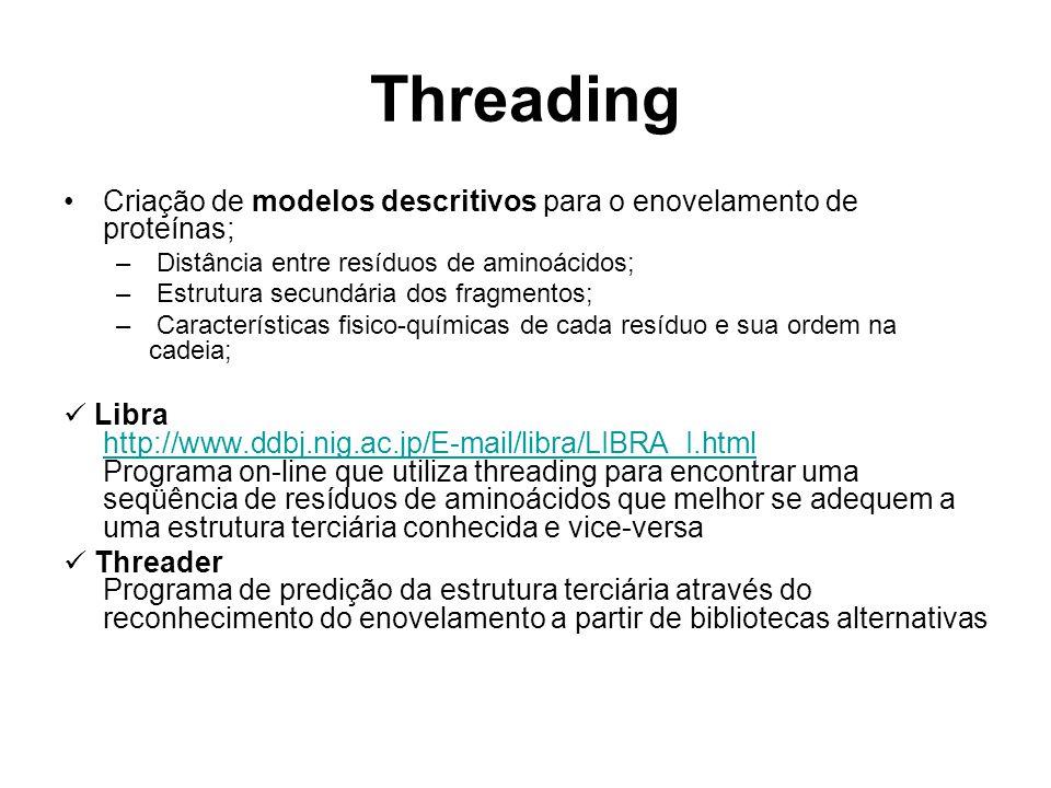 Threading Criação de modelos descritivos para o enovelamento de proteínas; Distância entre resíduos de aminoácidos;