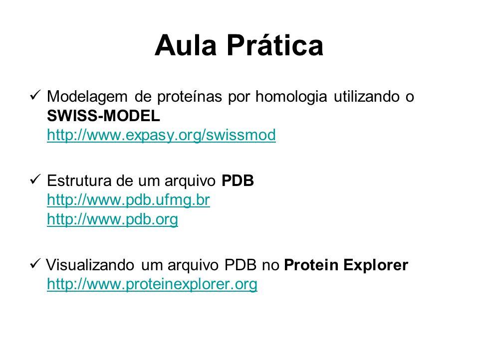 Aula Prática Modelagem de proteínas por homologia utilizando o SWISS-MODEL http://www.expasy.org/swissmod.