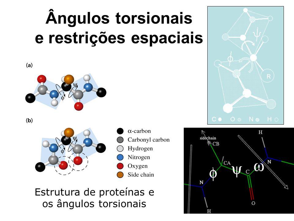 Ângulos torsionais e restrições espaciais