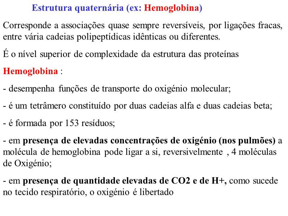 Estrutura quaternária (ex: Hemoglobina)