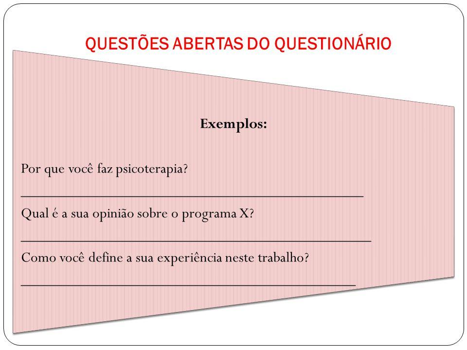QUESTÕES ABERTAS DO QUESTIONÁRIO
