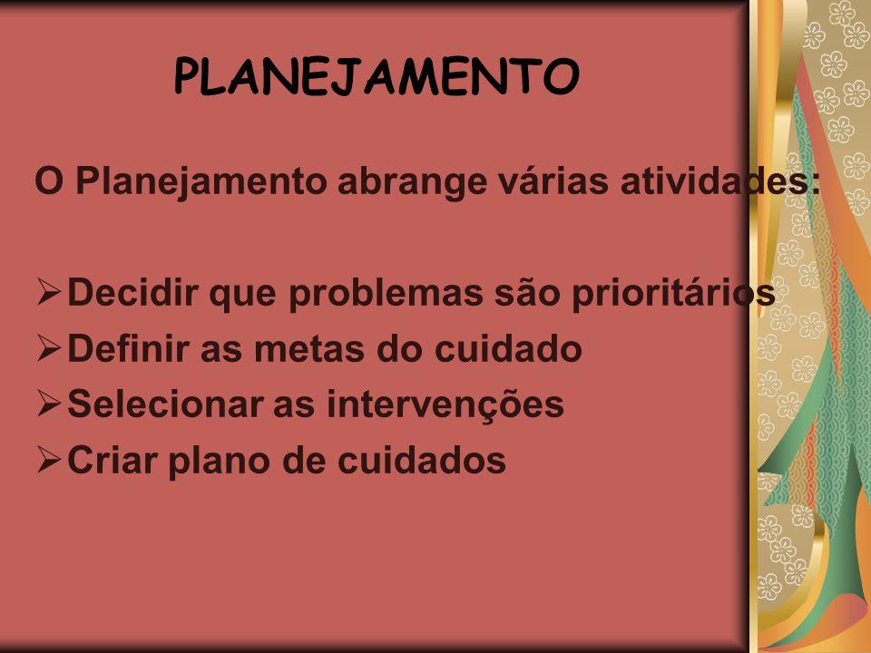 PLANEJAMENTO O Planejamento abrange várias atividades: