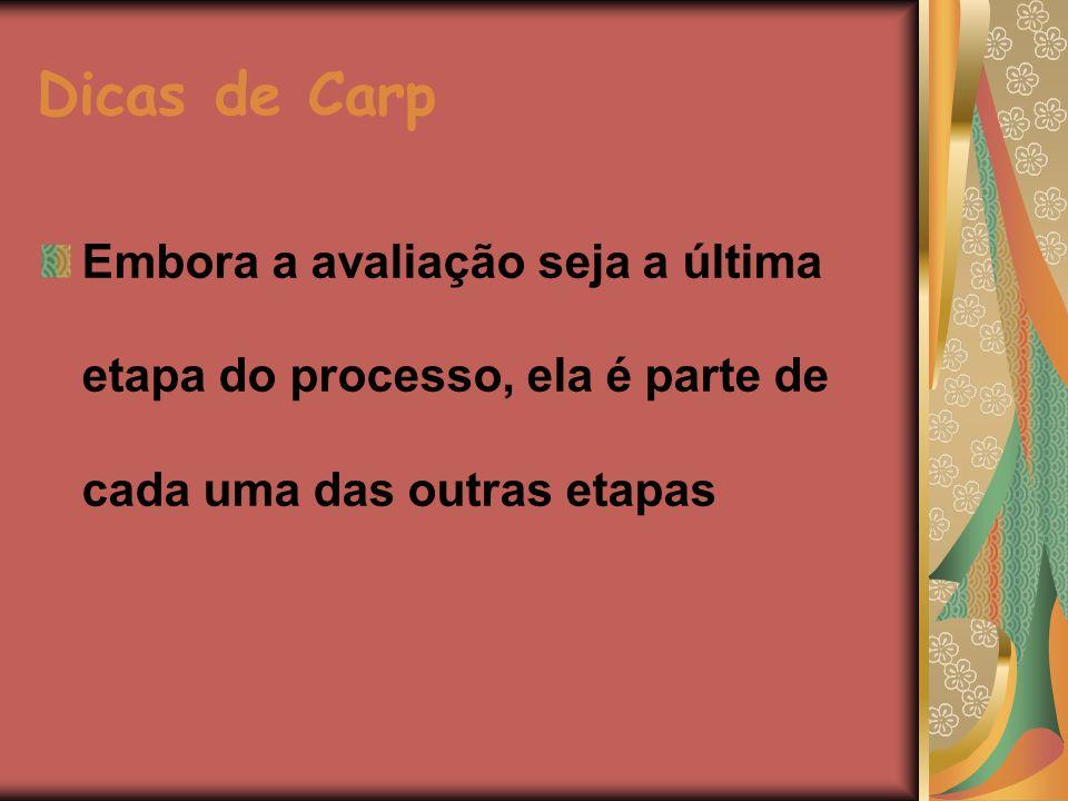 Dicas de Carp Embora a avaliação seja a última etapa do processo, ela é parte de cada uma das outras etapas.
