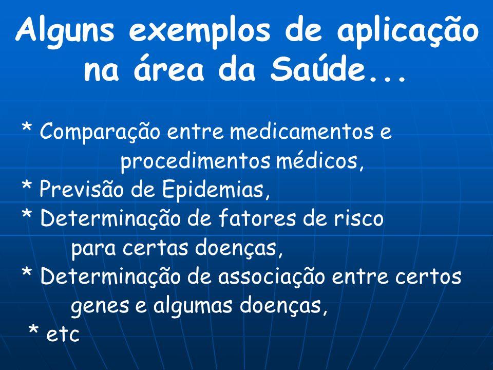 Alguns exemplos de aplicação na área da Saúde...