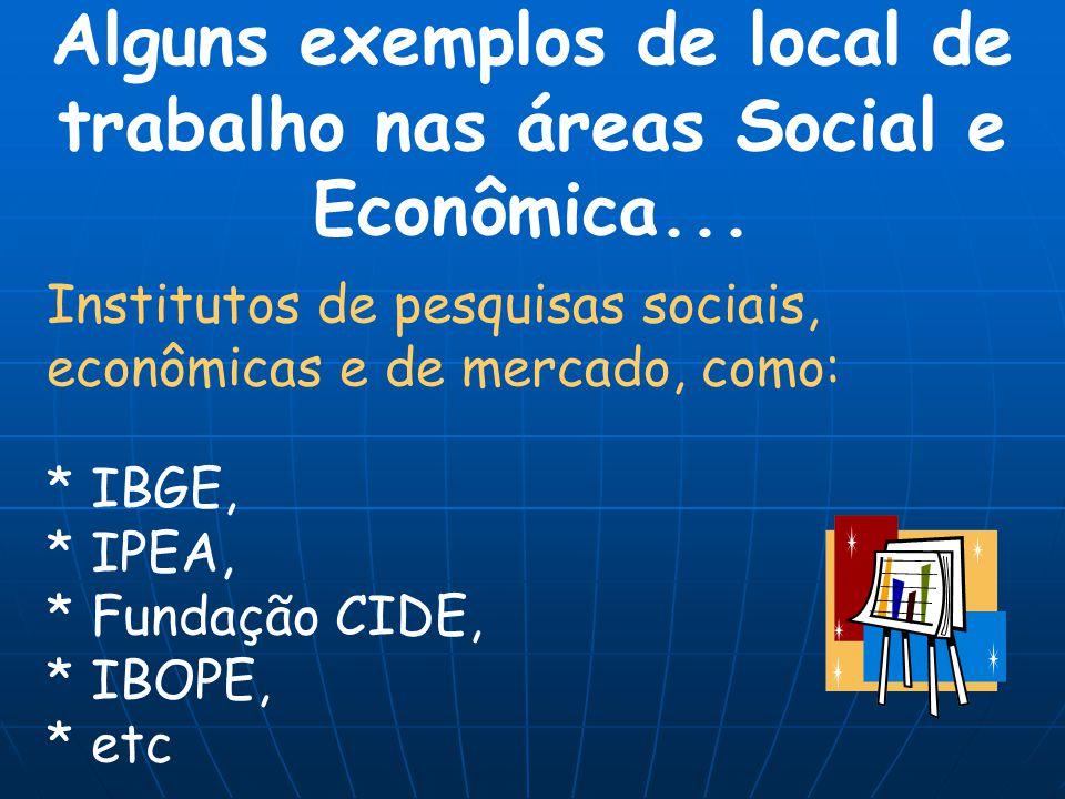 Alguns exemplos de local de trabalho nas áreas Social e Econômica...