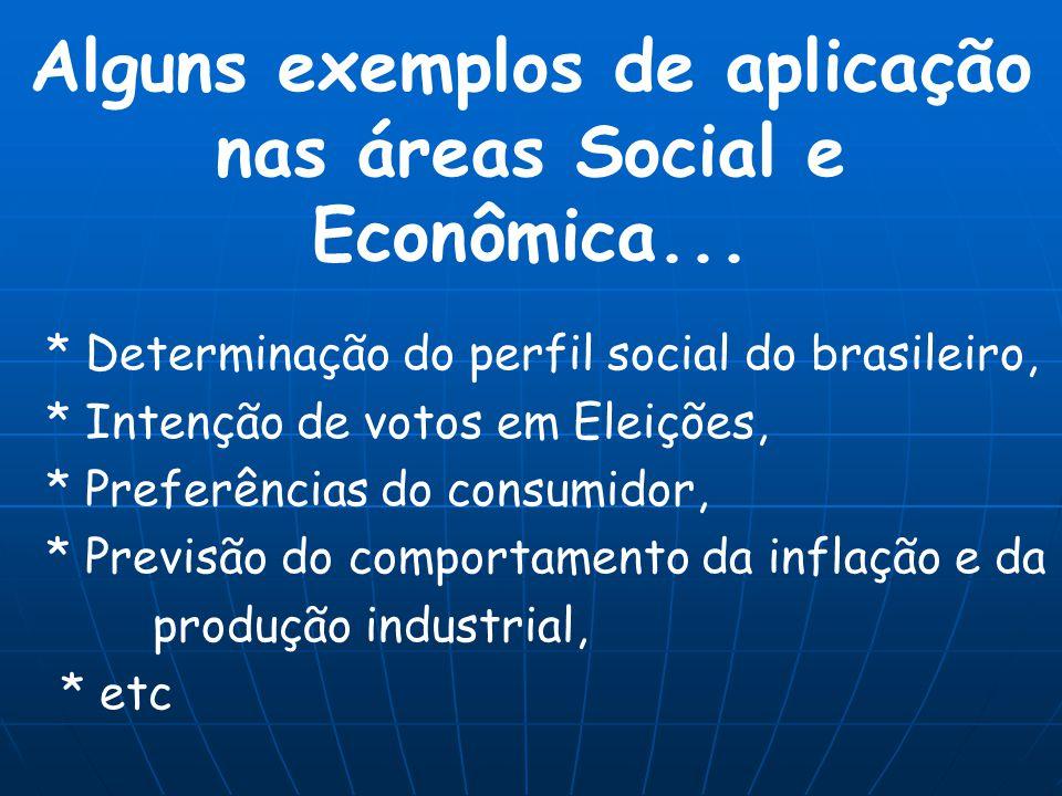 Alguns exemplos de aplicação nas áreas Social e Econômica...