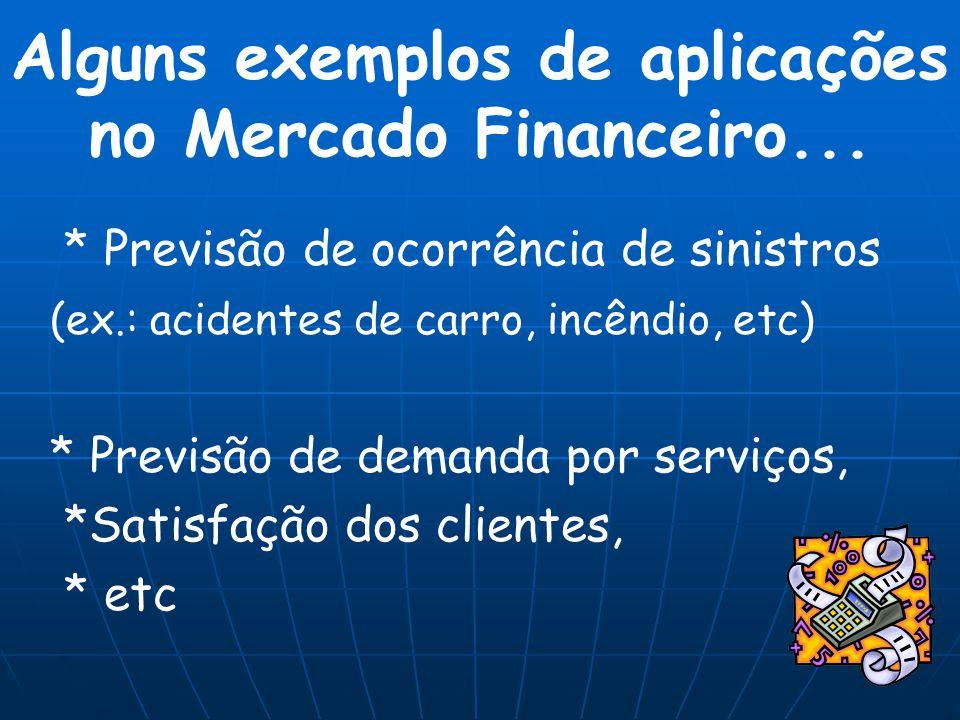 Alguns exemplos de aplicações no Mercado Financeiro...