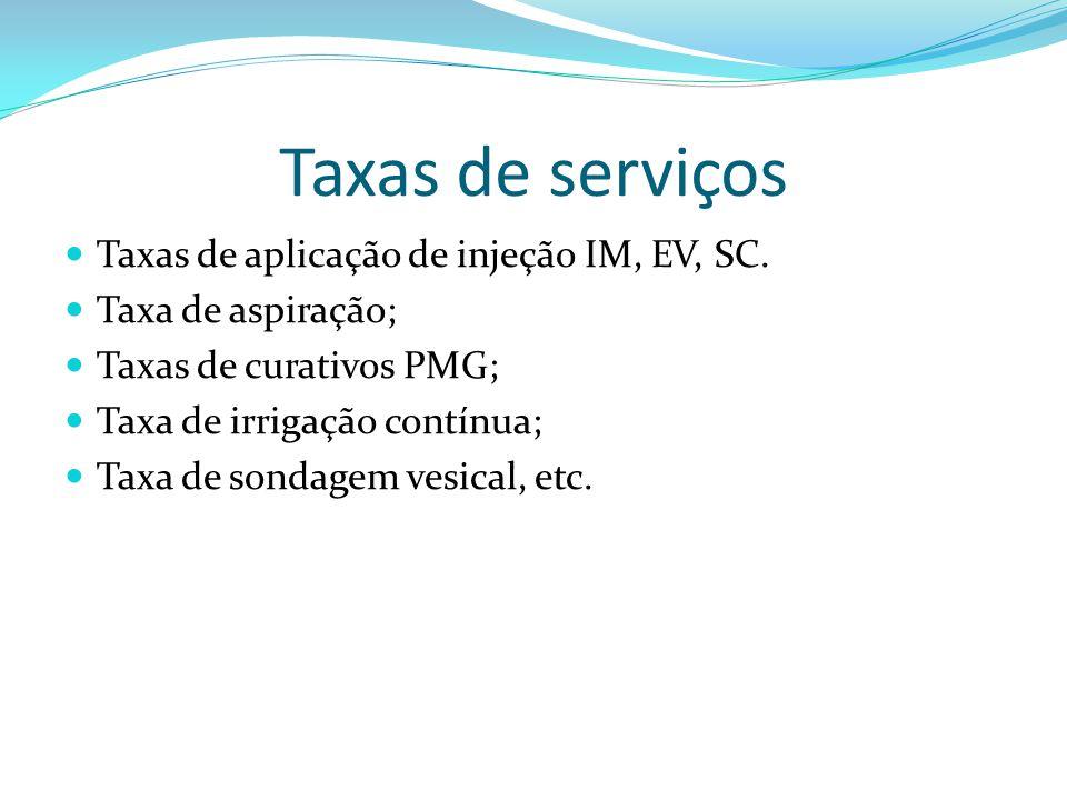 Taxas de serviços Taxas de aplicação de injeção IM, EV, SC.