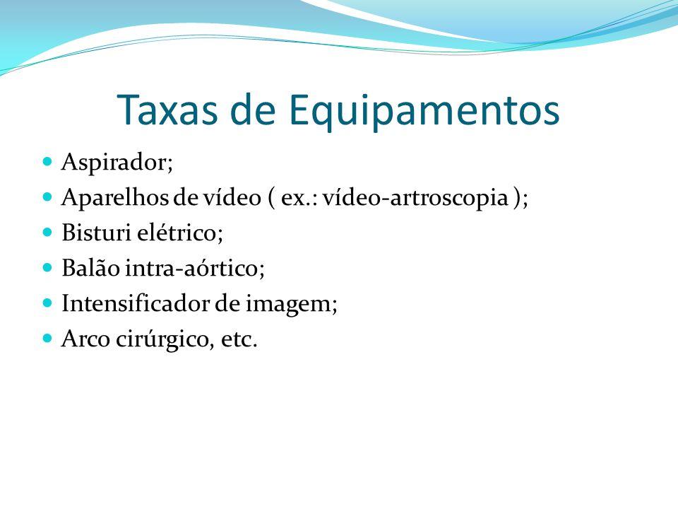 Taxas de Equipamentos Aspirador;