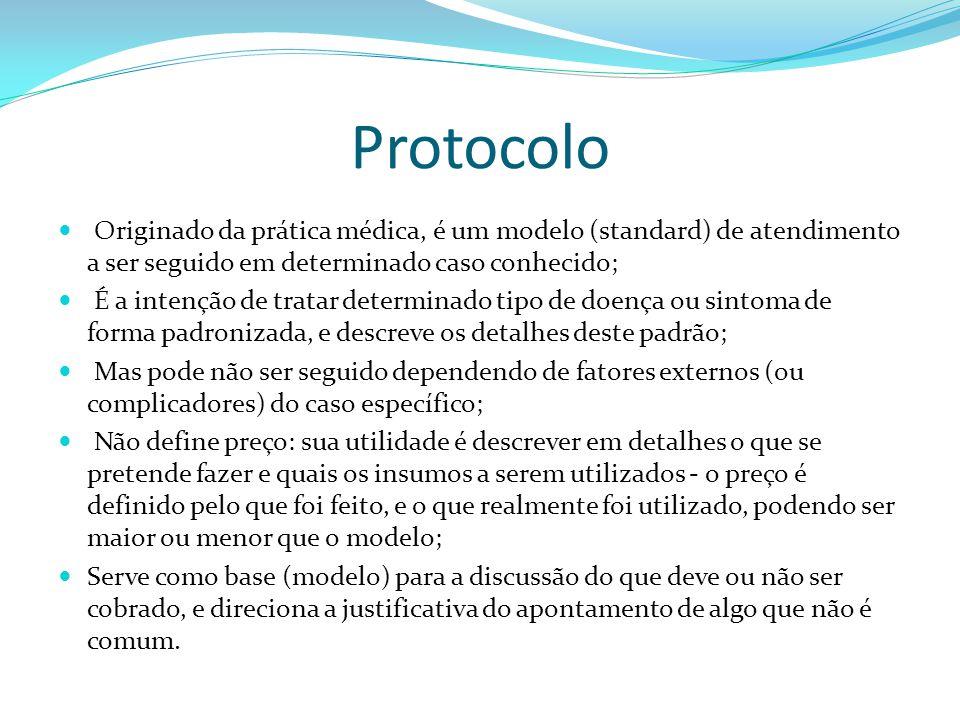 Protocolo Originado da prática médica, é um modelo (standard) de atendimento a ser seguido em determinado caso conhecido;
