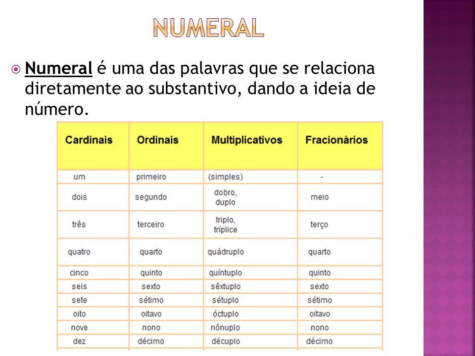 Numeral Numeral é uma das palavras que se relaciona diretamente ao substantivo, dando a ideia de número.