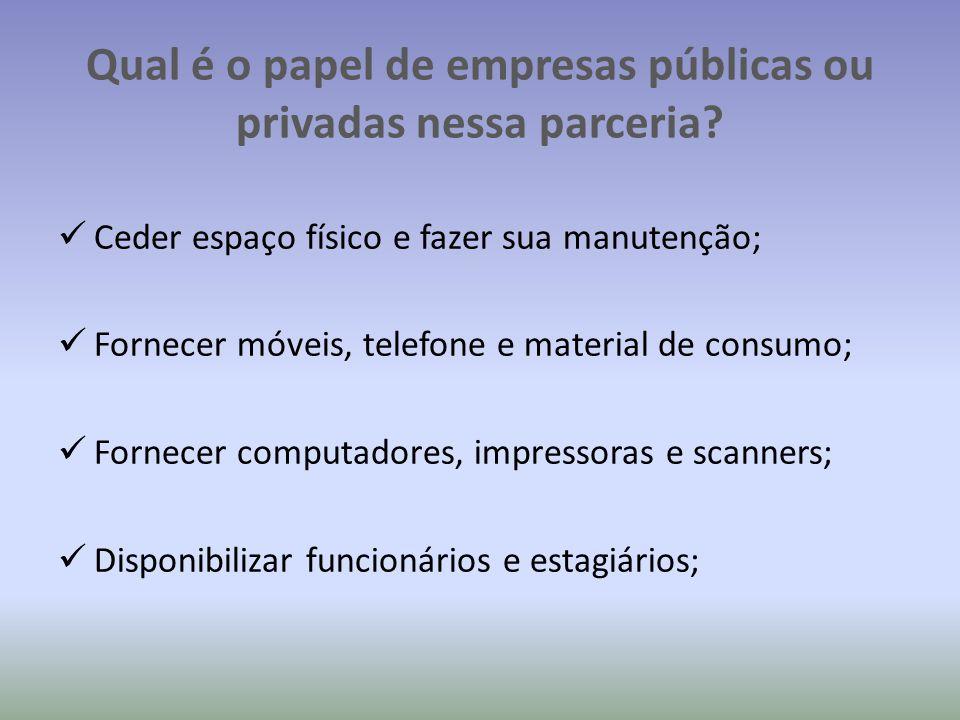 Qual é o papel de empresas públicas ou privadas nessa parceria
