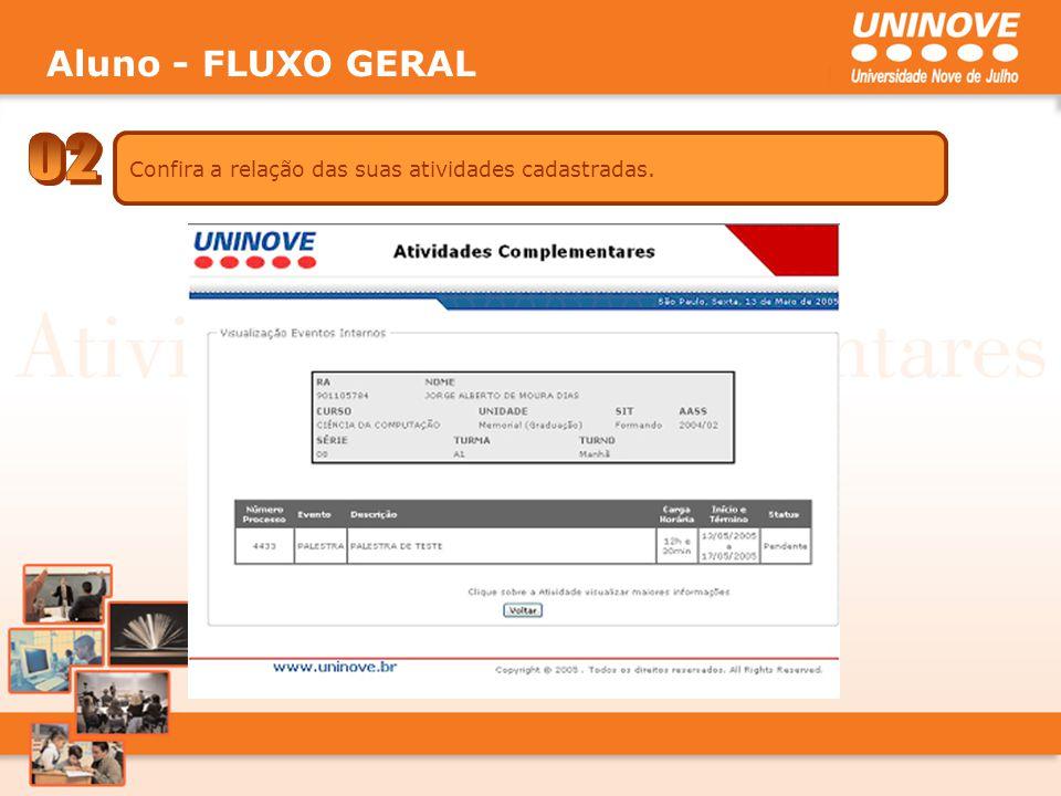 Aluno - FLUXO GERAL 02 Confira a relação das suas atividades cadastradas.
