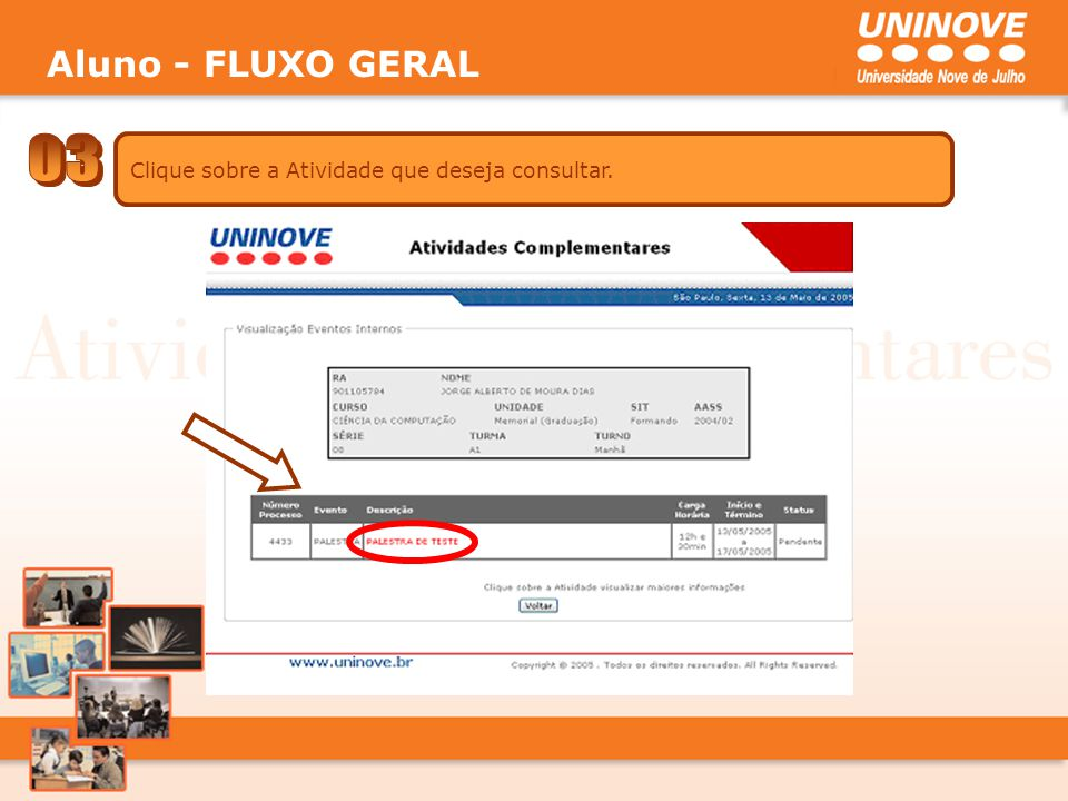 Aluno - FLUXO GERAL 03 Clique sobre a Atividade que deseja consultar.