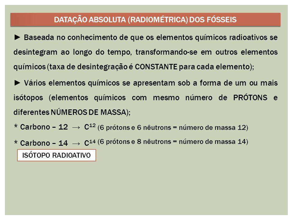 DATAÇÃO ABSOLUTA (RADIOMÉTRICA) DOS FÓSSEIS
