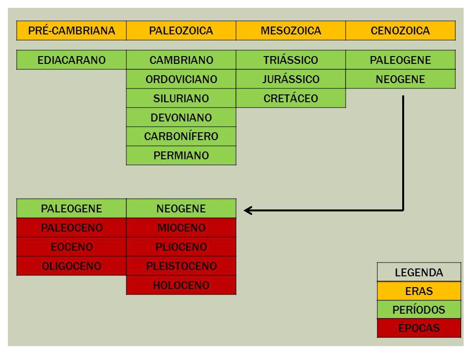 PRÉ-CAMBRIANA PALEOZOICA. MESOZOICA. CENOZOICA. EDIACARANO. CAMBRIANO. TRIÁSSICO. PALEOGENE. ORDOVICIANO.
