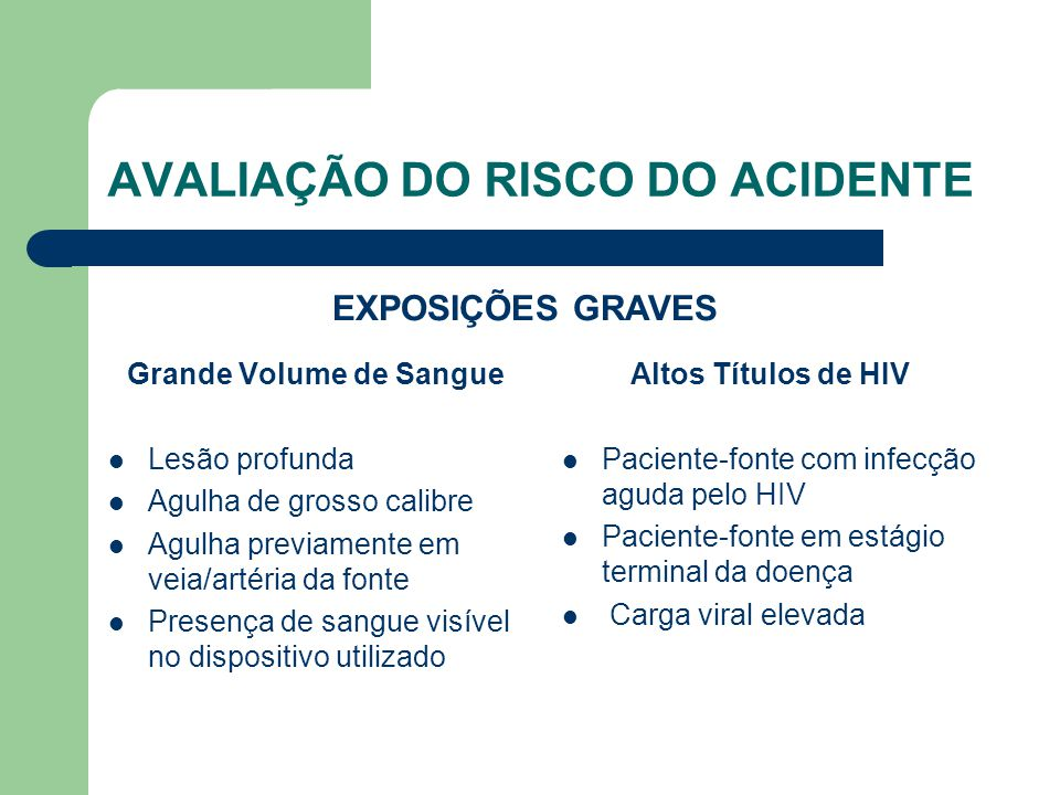 AVALIAÇÃO DO RISCO DO ACIDENTE