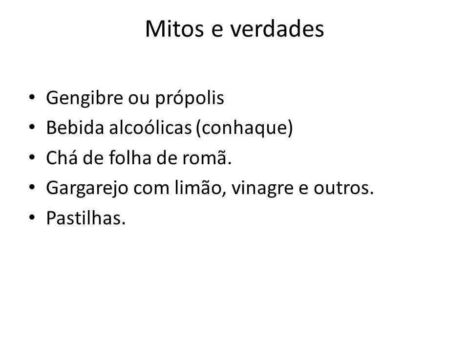 Mitos e verdades Gengibre ou própolis Bebida alcoólicas (conhaque)