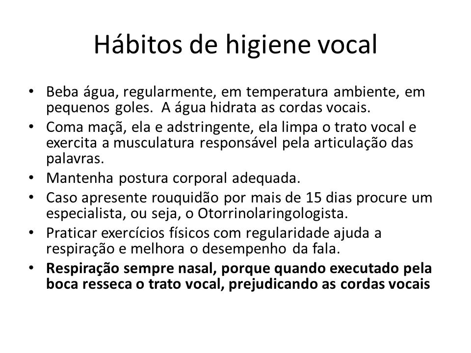 Hábitos de higiene vocal