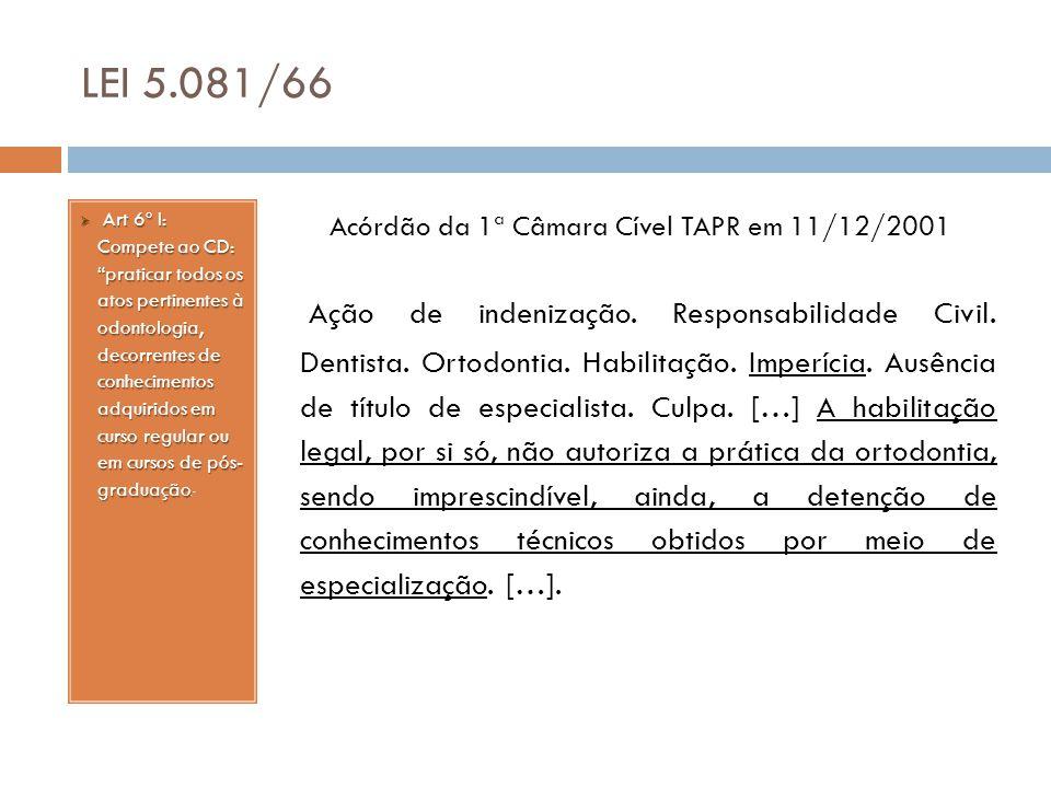 Acórdão da 1ª Câmara Cível TAPR em 11/12/2001