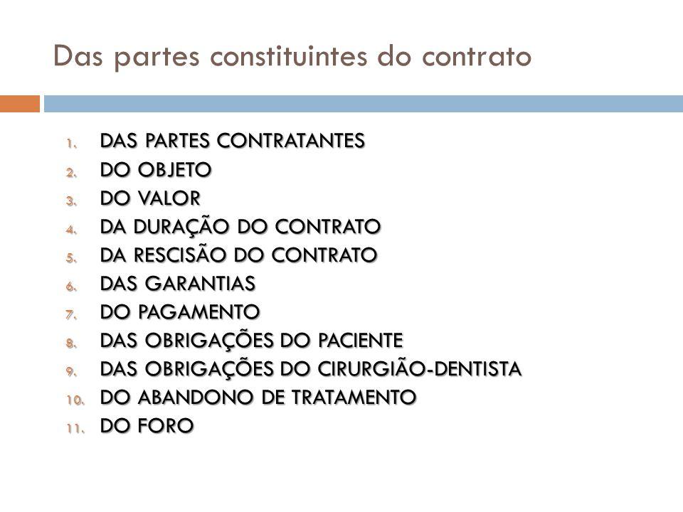 Das partes constituintes do contrato