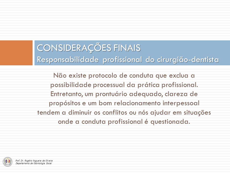 CONSIDERAÇÕES FINAIS Responsabilidade profissional do cirurgião-dentista