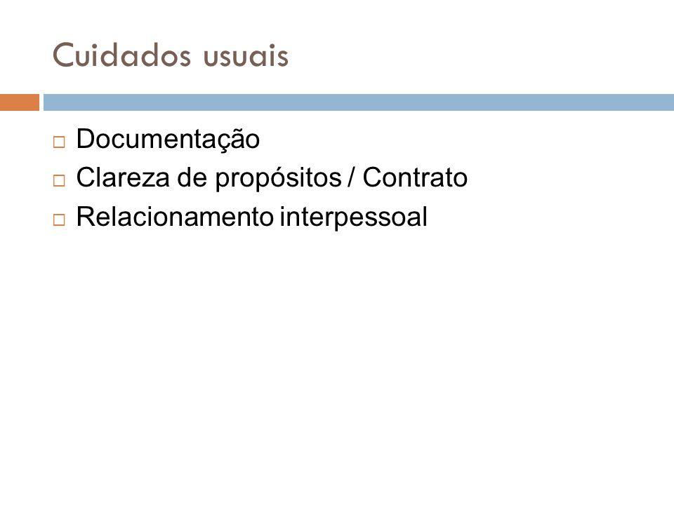 Cuidados usuais Documentação Clareza de propósitos / Contrato