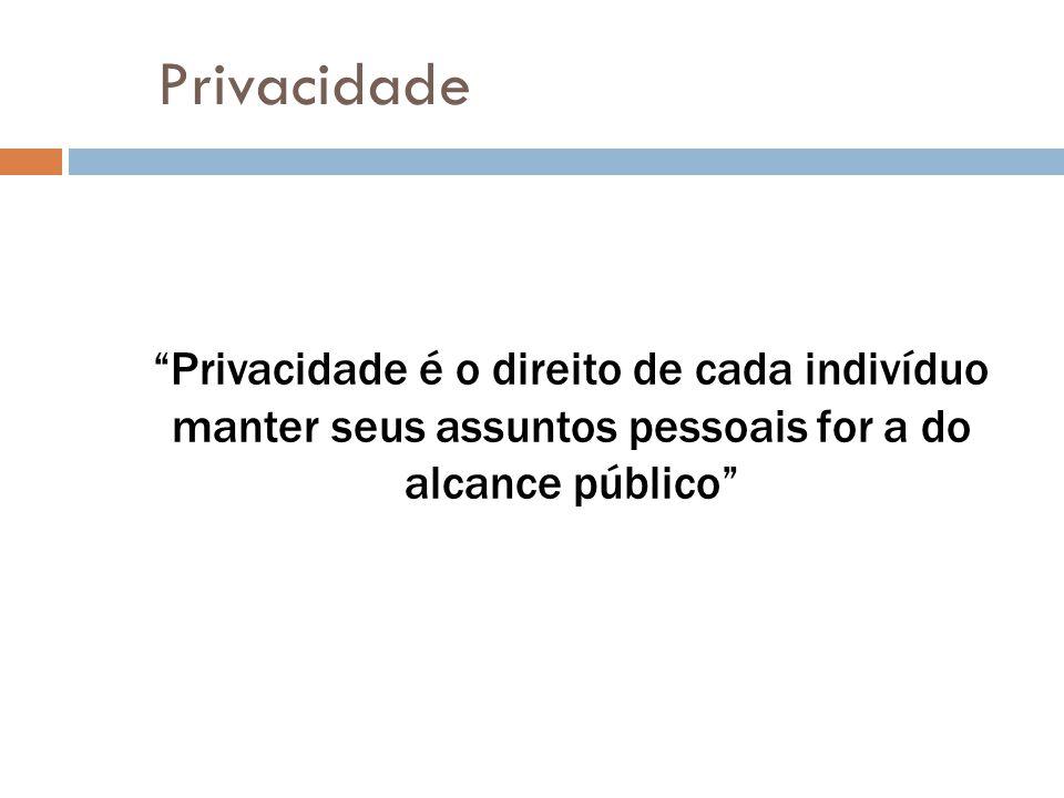Privacidade Privacidade é o direito de cada indivíduo manter seus assuntos pessoais for a do alcance público