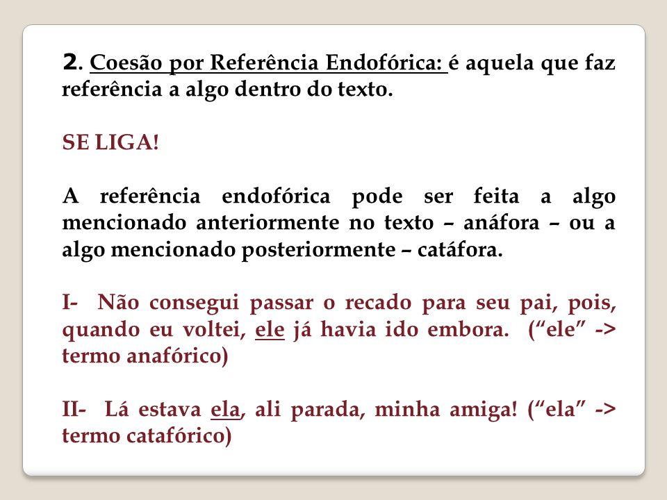 2. Coesão por Referência Endofórica: é aquela que faz referência a algo dentro do texto.