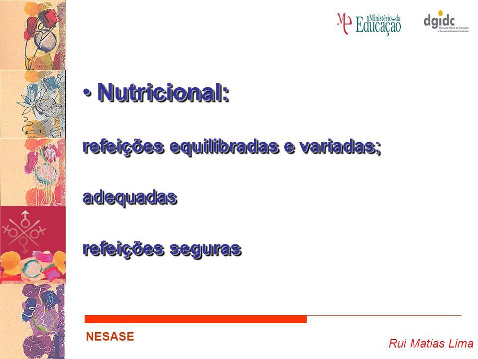 Nutricional: refeições equilibradas e variadas; adequadas