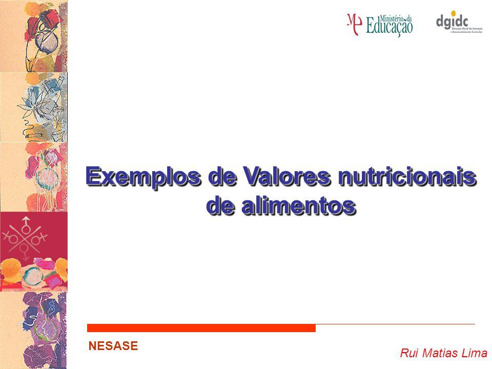 Exemplos de Valores nutricionais de alimentos