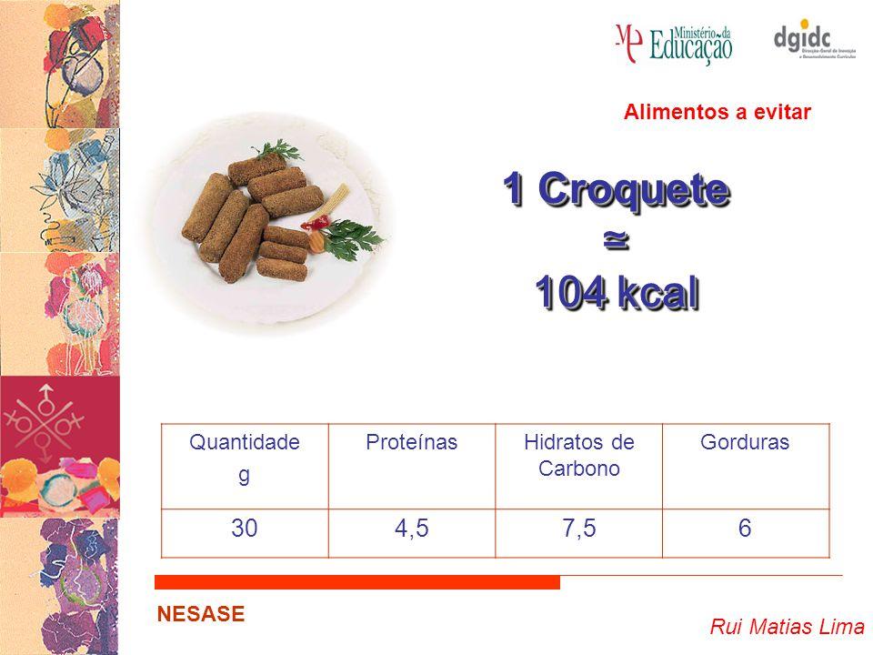 1 Croquete ≃ 104 kcal 30 4,5 7,5 6 Alimentos a evitar Quantidade g