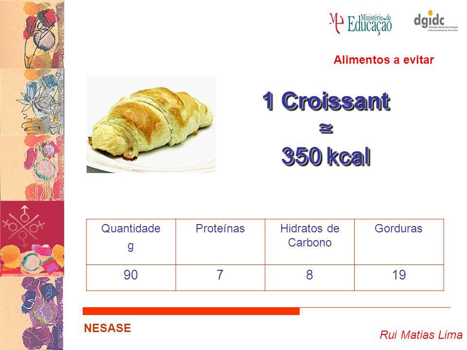 1 Croissant ≃ 350 kcal 90 7 8 19 Alimentos a evitar Quantidade g