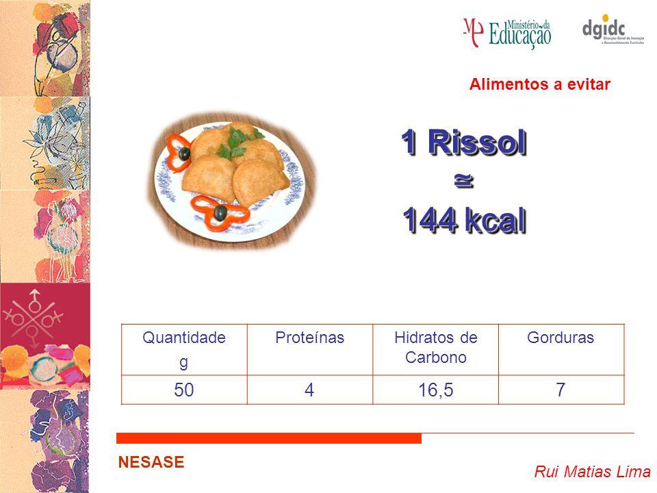1 Rissol ≃ 144 kcal 50 4 16,5 7 Alimentos a evitar Quantidade g