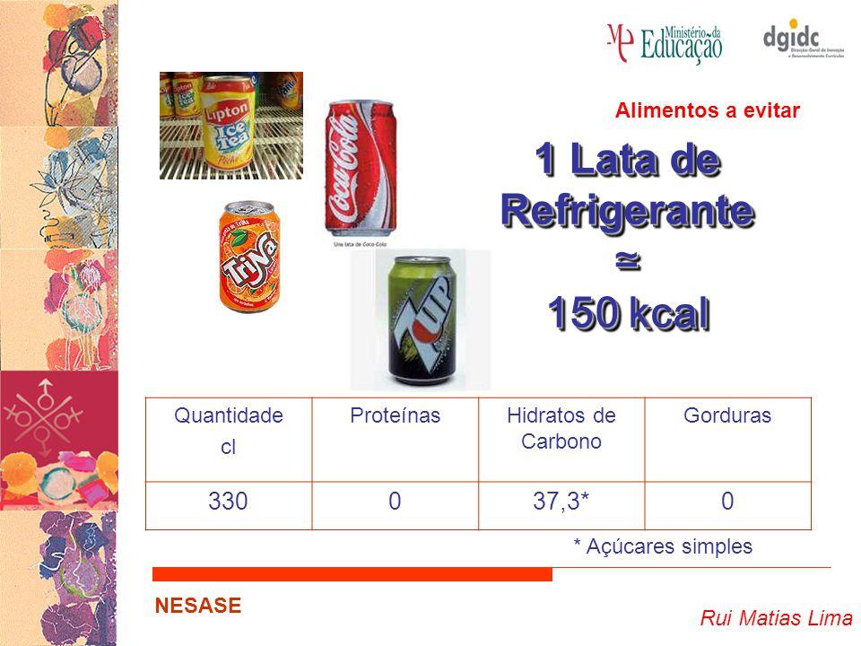 1 Lata de Refrigerante ≃ 150 kcal 330 37,3* Alimentos a evitar