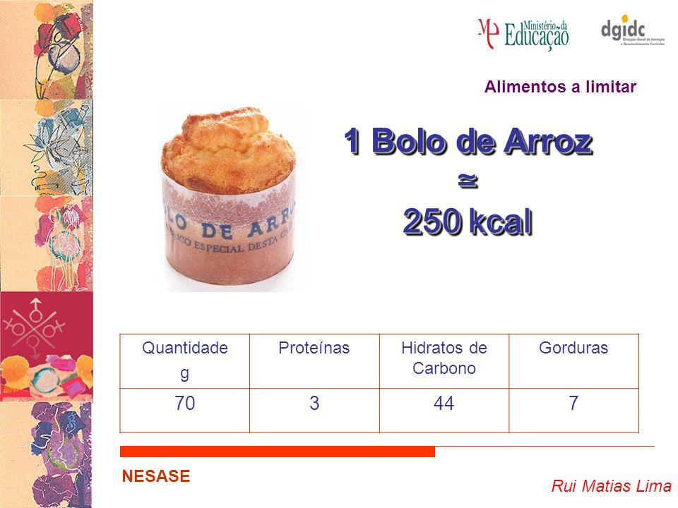 1 Bolo de Arroz ≃ 250 kcal 70 3 44 7 Alimentos a limitar Quantidade g