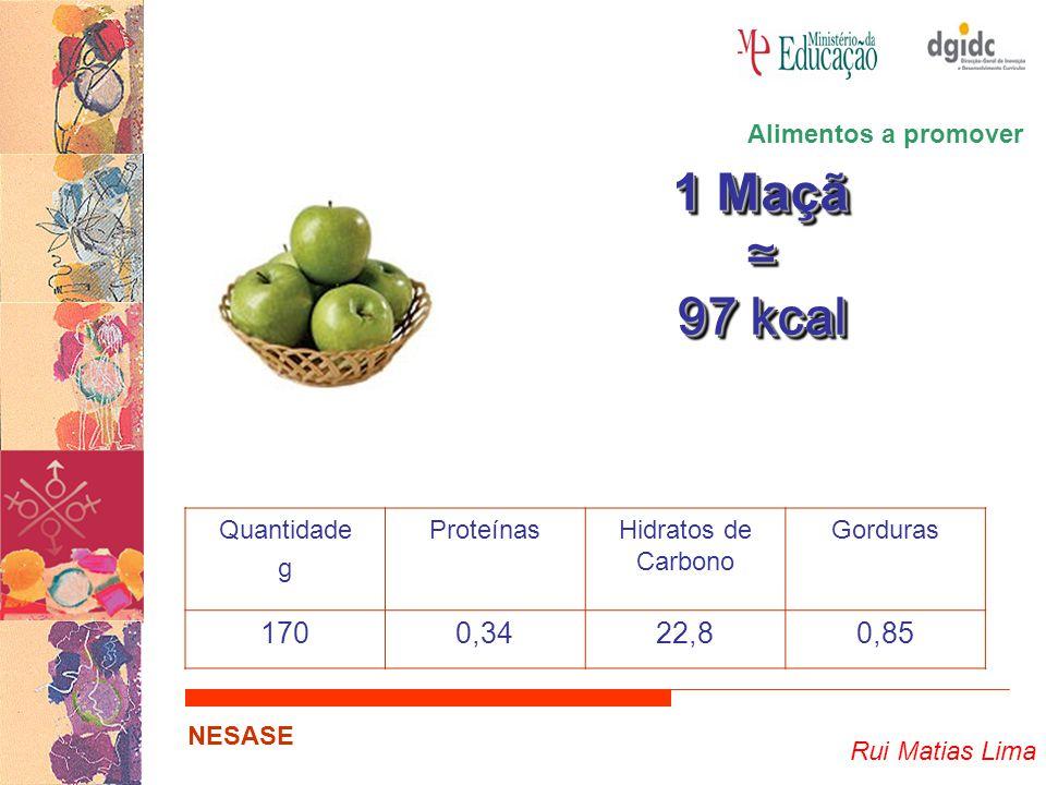 1 Maçã ≃ 97 kcal 170 0,34 22,8 0,85 Alimentos a promover Quantidade g