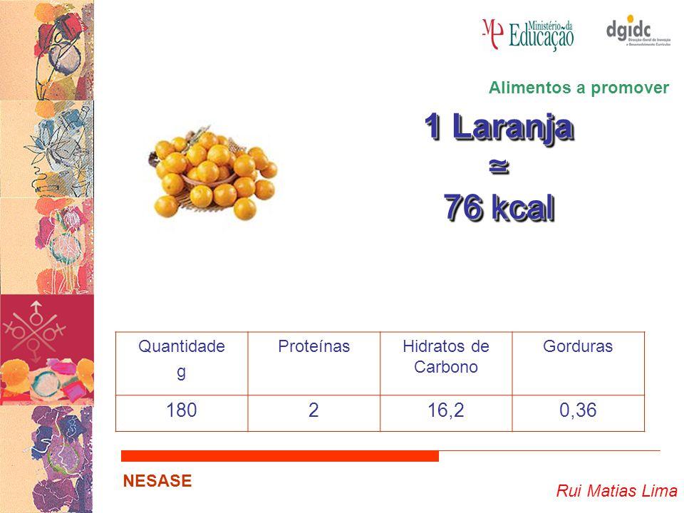 1 Laranja ≃ 76 kcal 180 2 16,2 0,36 Alimentos a promover Quantidade g