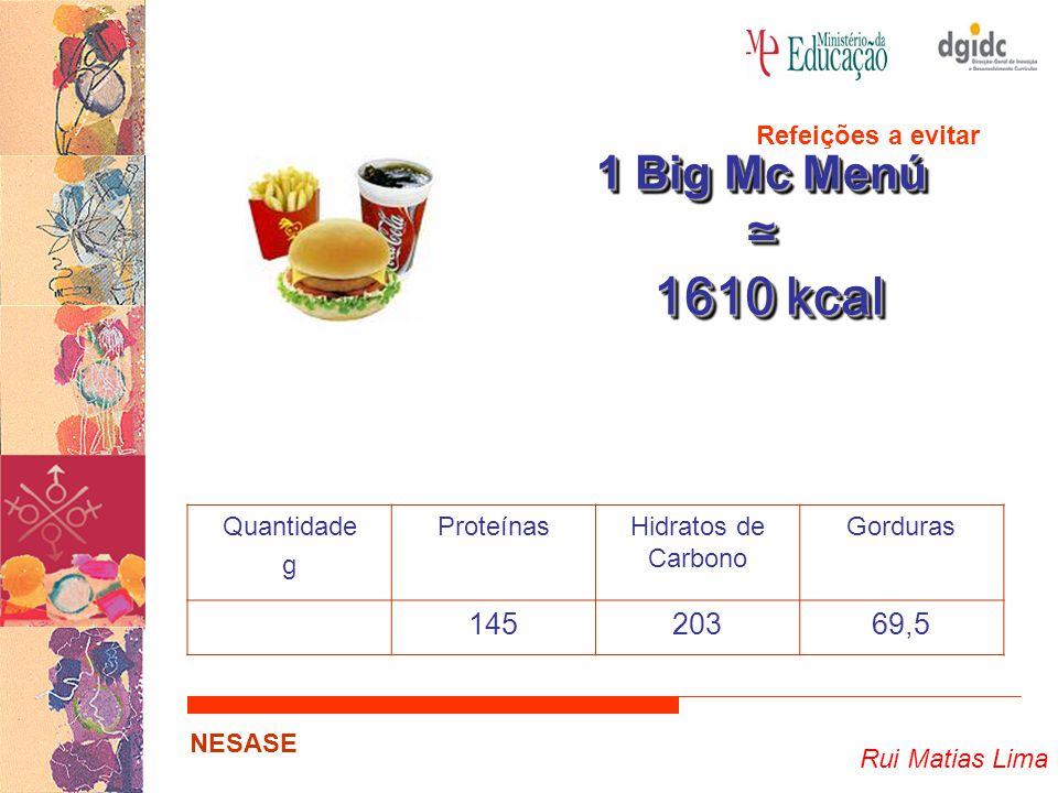 ≃ 1610 kcal 1 Big Mc Menú 145 203 69,5 Refeições a evitar Quantidade g
